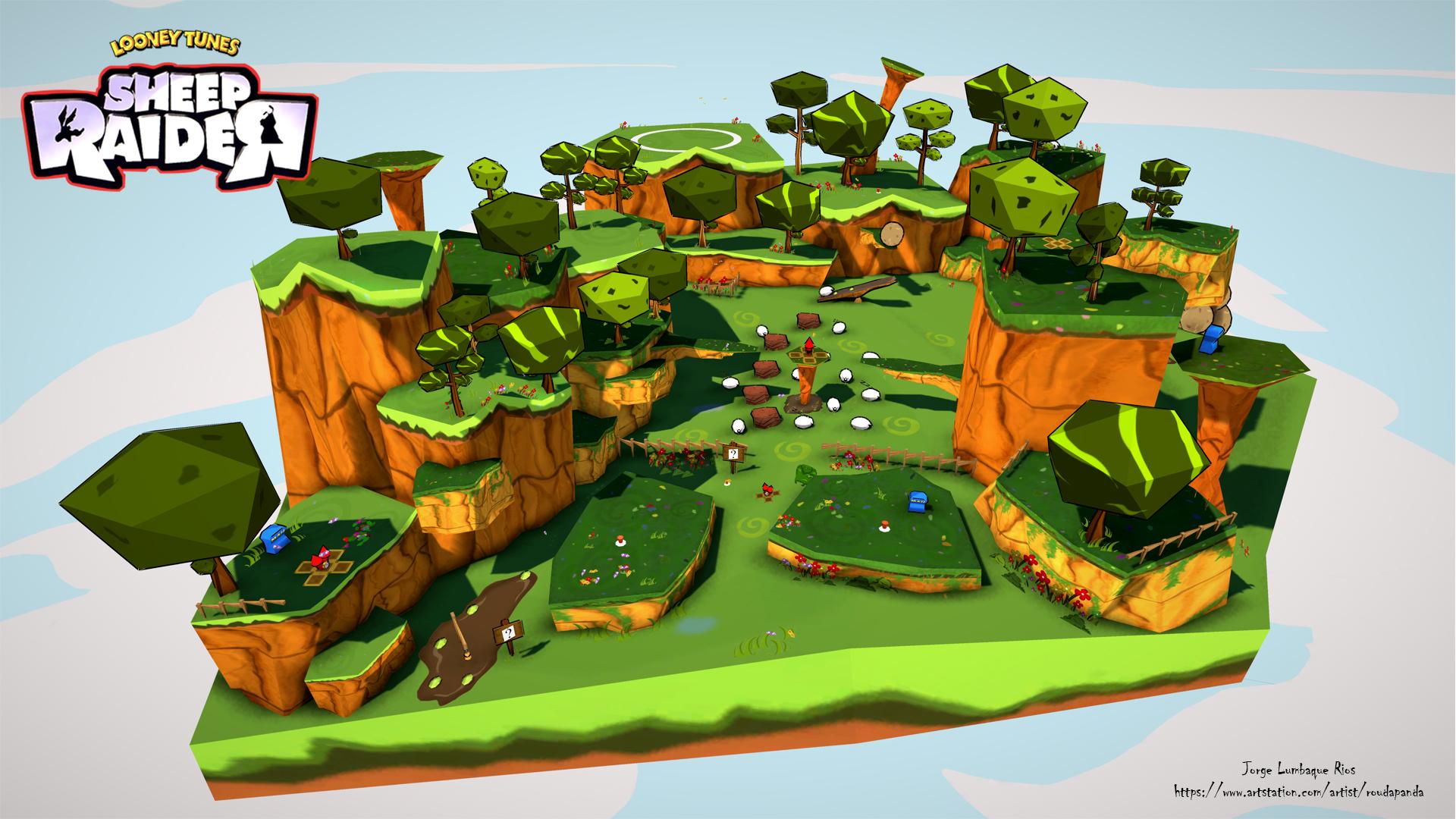 Cartoon Style Sheep Raider Environment