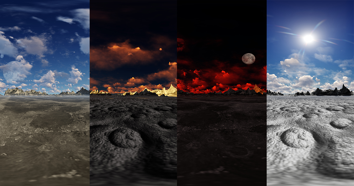 Moon landscape skyboxes pack