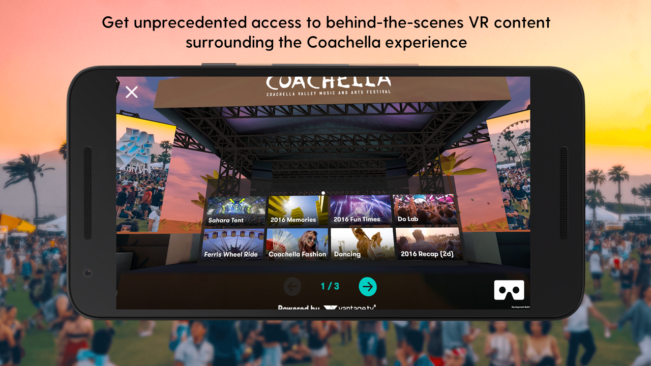 Coachella Festival VR/AR app, California, USA